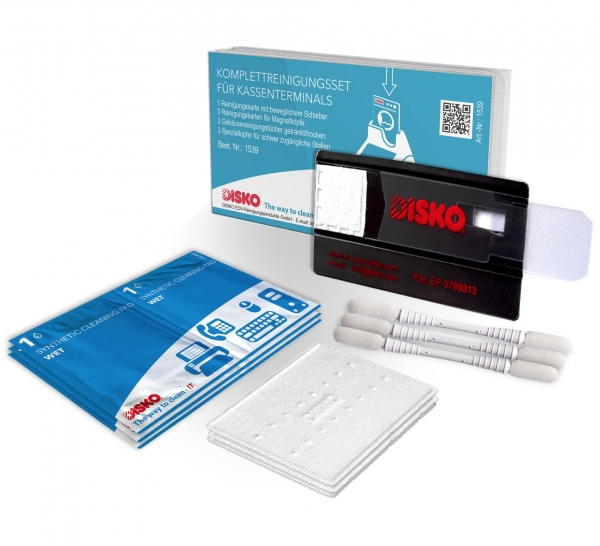 Complete cleaning kit for cash desk terminals with hybrid card readers